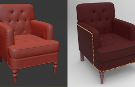 Sofa 3D sculpting, modeling, shading lighting and rendering to showcase skills 3D model