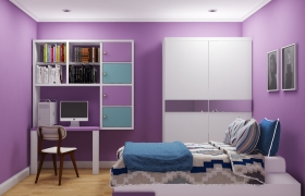 Purple Bedroom 3D model - This bedroom designing for young girl.