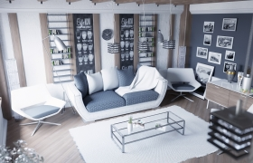 Scandinavian style living room 3D model
