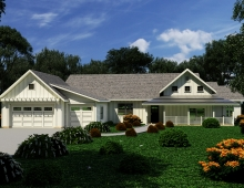 Exterior renders 3D model - White wood board house