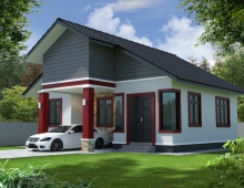 single storey simple house 3D model - RIGHT VIEW