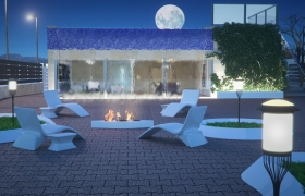 Chill out terrace demo render for the official gallery of Arion render engine 3D model