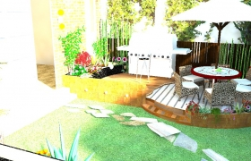 Create garden design in Real landscape visualization 3D model -  backyard design