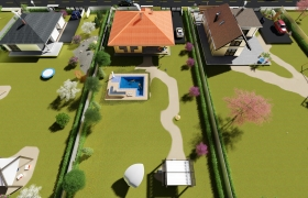 Row of family houses 3D model