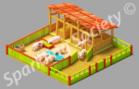 city building game assets 3D model - Pig farm