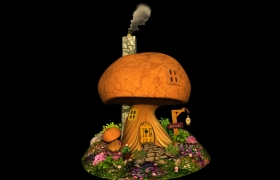 3d Work (Hard surface and Organic) 3D model - Fantasy Mushroom house (original concept art by Walter Vermeij ) modeled in Maya and textured in Photoshop.