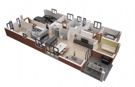 Floor plan 3D model - Apartment interior