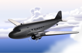 Machine Art 3D model - Douglas C47, Vector Illustration