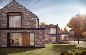 Modern country house with stone walls 3D model - Graphical representation of an architectural conception - contemporary village house.