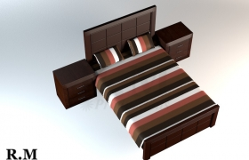 Dark Wooden Bed 3D model