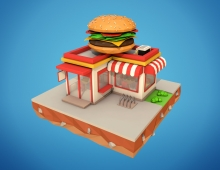 Low poly buildings from my 3D Ocean profile 3D model - You can find this item here: