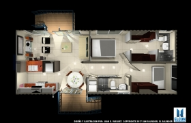 House of easy construction 1 3D model - plan view