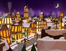 Low poly christmas night 3D model - Christmas night