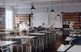 Classroom Interior Rendering 3D model