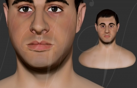 A young man's portrait 3D model
