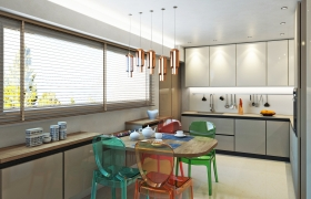 Design, rendering, visualization of a kitchen.  3D model