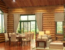 semi modern log cabin 3D model - living dining