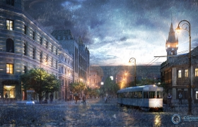 Architectural Visualization of night scene. 3D model - Architectural Visualization