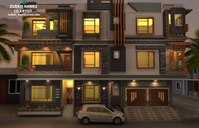 Exterior ground to 3rd floor 3D model