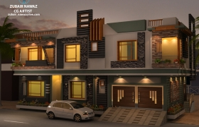 Exterior ground to first floor 3D model