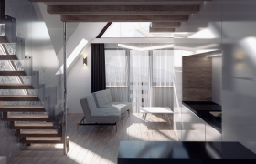 Interior architecture project in Polish mountains 3D model