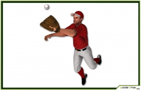 White Baseball Outfielder CG 3D model