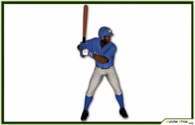 Black Baseball Batter CG 3D model