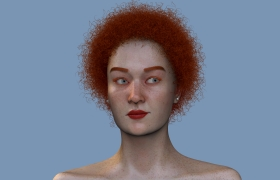 Redheaded Girl Zbrush 3D model - Front