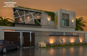 Modern House Elevation theme 2 3D model