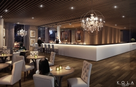 Imperial Park Hotel - interiors 3D model - Visualization of a hotel bar with small brewery