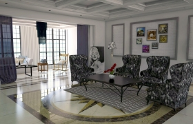 Living Room 3D Rendering 3D model