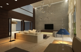 duplex residence interior 3D model - living area 01