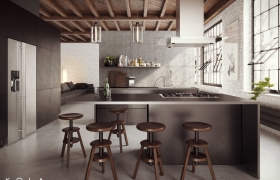 Visualization of a loft kitchen 3D model - Industrial style kitchen