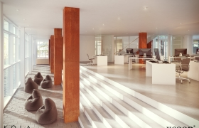 Office interiors 3D model - Open space office with use of corten material.