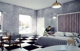 360 degree hotel room 3D model