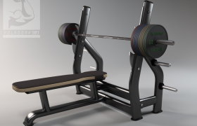 Bench for bench press 3D model