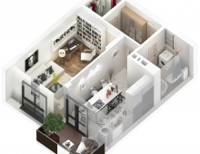 basic design of appartments 3D model - The one room appartment - basic design