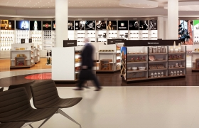 Duty Free Shop 3D model - Visualizations of an airport's duty free shop in Bremen. Sample of a commercial interior rendering. Design: In Pracownia