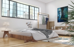 Low Height bed room for an artist 3D model - Have modeled and rendered in 3ds max + Vray and post processing in Photoshop