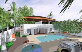 beach house 3D model - 2 apartments for rent on the beach, each consisting of two bedrooms, living room, dining room and kitchen, communal swimming pool and jacuzzi.