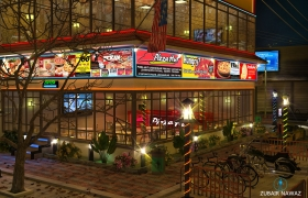 Pizza Hut 3D model - Detail Render