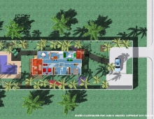 beach house  3D model - plan view