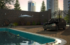 House with swimming pool  3D model - Details Render, Camera 01
