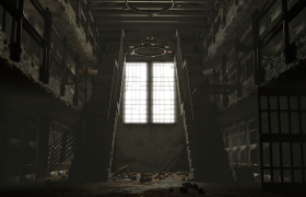 Prison 3D model - Through the use of multiple array modifiers, particle systems and strategic lighting, I was able to create a dark and forsaken scene.