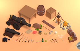 Low Poly Pirate Prop Assets 3D model