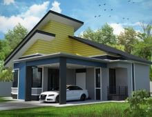 SINGLE STOREY MODERN HOUSE 3D model - right view