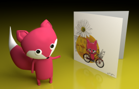 Character Design 3D model - Flower Companion Fox