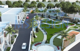 Landscape design 3D model - Low rise row houses with garden landscaping
