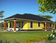single storey house 3D model - right view