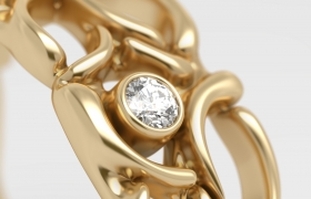 gold rings 3D model - detailed perspective